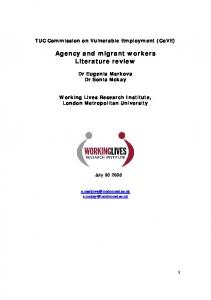 Agency and migrant workers Literature review - CiteSeerX