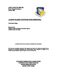 agent-based systems engineering - Defense Technical Information ...
