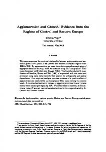 Agglomeration and Growth: Evidence from the Regions of Central and