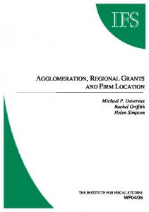 Agglomeration, regional grants and firm location - CiteSeerX