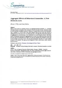 Aggregate Effects of Behavioral Anomalies: A New ... - Bruno Frey