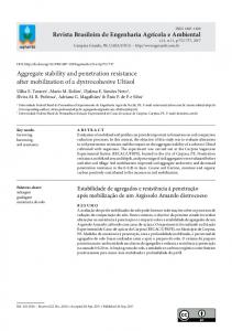 Aggregate stability and penetration resistance after ... - SciELO