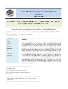 AGGRESSIVENESS AND MORPHOLOGICAL VARIABILITY OF ...