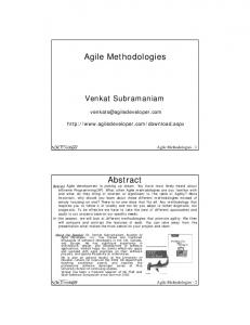 Agile Methodologies Abstract