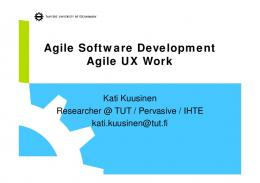 Agile Software Development Agile UX Work