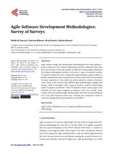 Agile Software Development Methodologies - Scientific Research ...