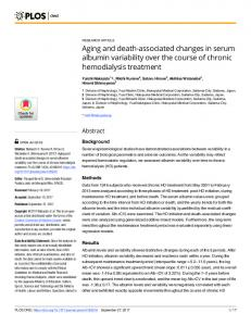 Aging and death-associated changes in serum