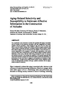 Aging-Related Selectivity and Susceptibility to ... - NC State University