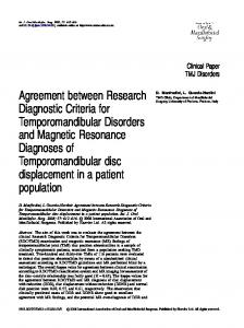 Agreement between Research Diagnostic Criteria for ...