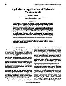 Agricultural applications of dielectric measurements - IEEE Xplore