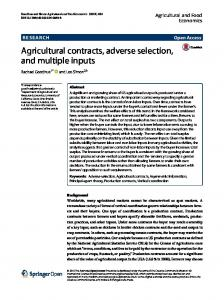 Agricultural contracts, adverse selection, and multiple inputs
