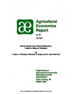 Agricultural Economics Report - AgEcon Search