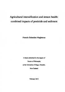 Agricultural intensification and stream health ...