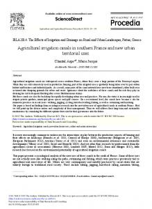 Agricultural Irrigation Canals in Southern France and New ... - Core