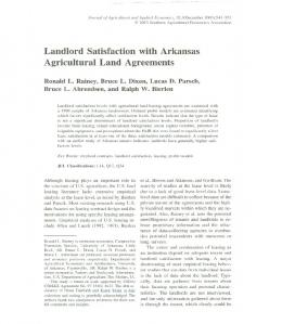 Agricultural Land Agreements - AgEcon Search
