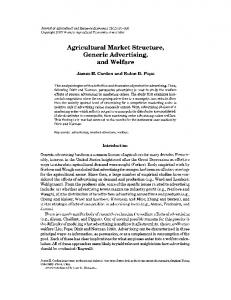Agricultural Market Structure, Generic Advertising ... - AgEcon Search