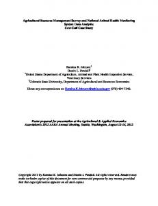 Agricultural Resource Management Survey and National Animal ...