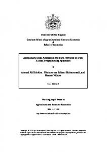 Agricultural Risk Analysis in the Fars Province of Iran - AgEcon Search