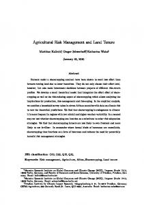 Agricultural Risk Management and Land Tenure - Editorial Express