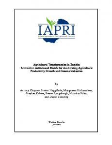 Agricultural Transformation in Zambia: Alternative Institutional Models ...