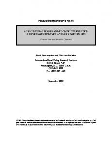 agricultural wages and food prices in egypt: a governorate ... - CiteSeerX