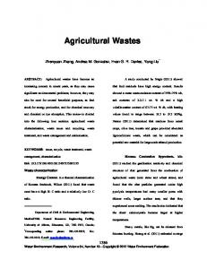 Agricultural Wastes - Ingenta Connect