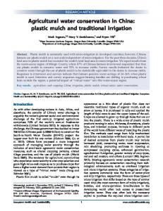 Agricultural water conservation in China: plastic mulch ... - ESA Journals