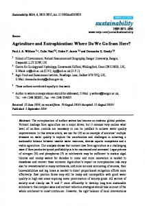 Agriculture and Eutrophication: Where Do We Go from Here