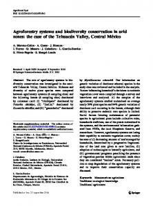 Agroforestry systems and biodiversity conservation in ...