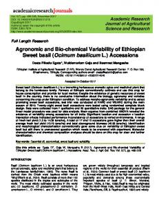 Agronomic and Bio-chemical Variability of Ethiopian