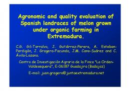 Agronomic and quality evaluation of Spanish ...