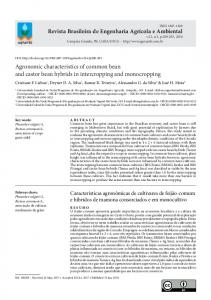 Agronomic characteristics of common bean and castor bean ... - SciELO