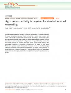 Agrp neuron activity is required for alcohol ... - Semantic Scholar