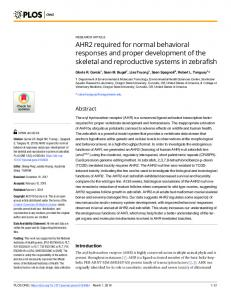 AHR2 required for normal behavioral responses and proper ... - PLOS