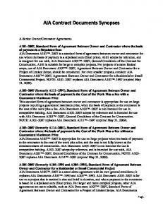 AIA Contract Documents Synopses