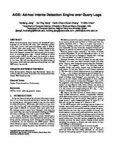 AIDE: Ad-hoc Intents Detection Engine over Query Logs - University of ...