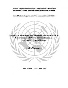 Aide-Memoire - United Nations Public Administration Network