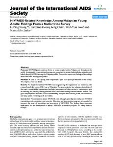 AIDS-Related Knowledge Among Malaysian Young Adults