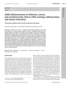 AIM2 inflammasome in infection, cancer, and autoimmunity: Role in ...