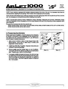 Air Lift 60769 Leveling Kit Installation Instructions