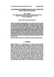AIR MONITORING OF PERSISTENT ORGANIC POLLUTANTS IN THE ...