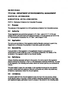 Air Pollution Control Regulation No. 3 Particulate Emissions