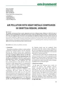 air pollution with heavy metals compounds in vinnytsia region, ukraine