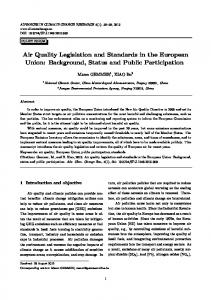 Air Quality Legislation and Standards in the European Union ...