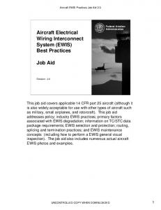 Aircraft Electrical Wiring Interconnect System (EWIS) Best Practices ...