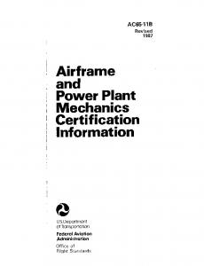 Airframe . and Power Plant Mechanics Certification Information