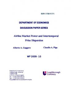 Airline Market Power and Intertemporal Price Dispersion - CORE