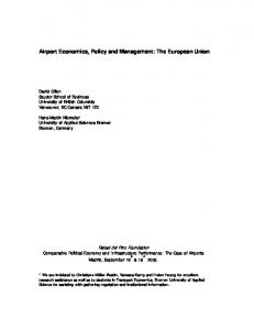 Airport Economics, Policy and Management: The ... - CiteSeerX