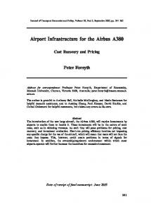 Airport Infrastructure for the Airbus A380: Cost Recovery and Pricing ...