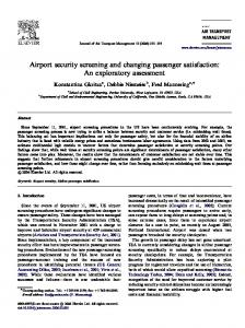 Airport security screening and changing passenger satisfaction: An ...